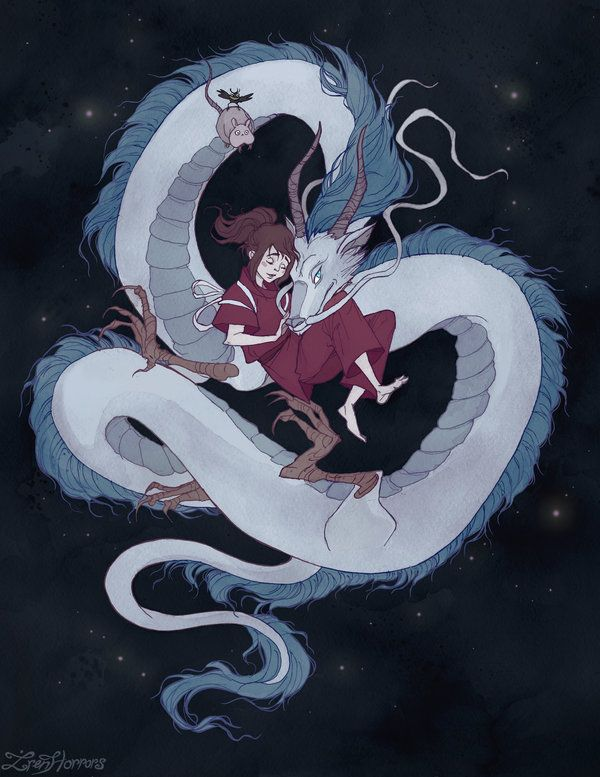 Spirited Away Chihiro And Haku In His Dragon Form With Their Friends Ghibli Art Studio Ghibli Art Art
