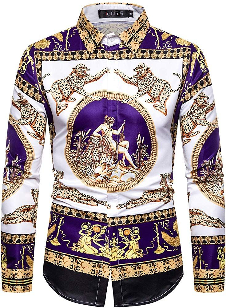 Ief G S Men S Print Dress Shirt Fashion Long Sleeve Luxury Design At Amazon Men S Clothing Printed Dress Shirts Mens Fashion Inspiration Mens Designer Shirts