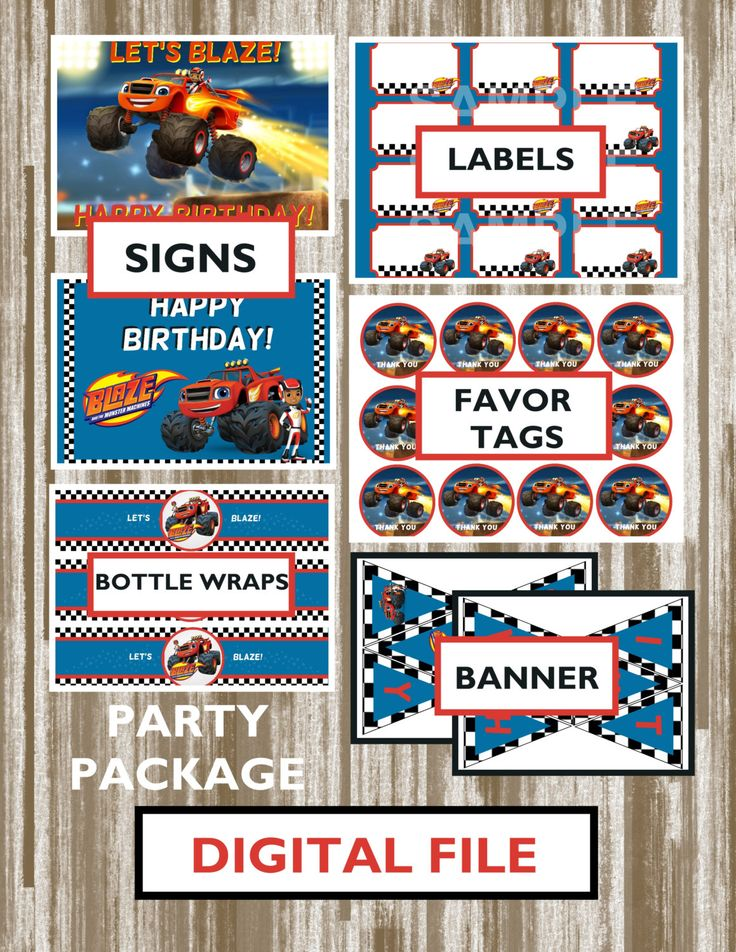 Blaze and the Monster Machines Theme Birthday Party Package-Digital Download by CreativeCucina on Etsy