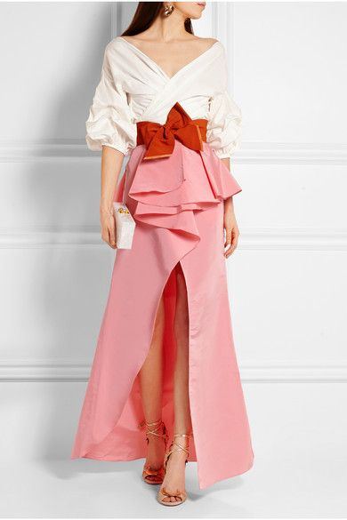 Johanna Ortiz blouse, belt, and skirt, Eddie Parker clutch, Jimmy Choo sandals, and Etro earrings