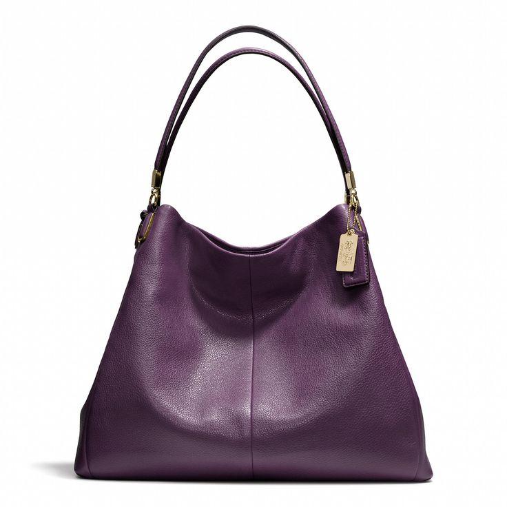 Madison Phoebe Shoulder Bag In Leather Purple 104