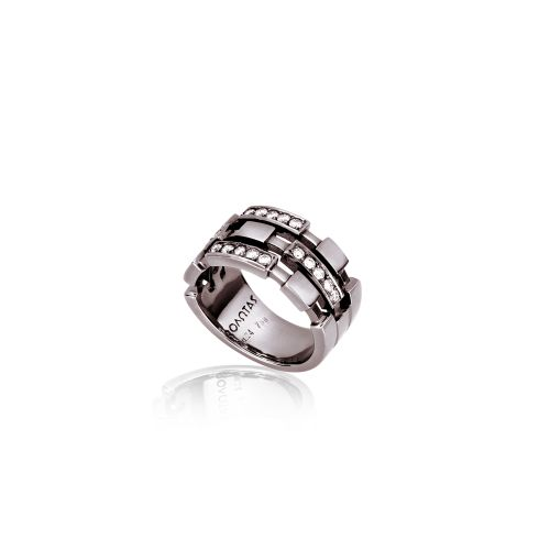 Cubic ring in 18ΚΤ black gold with diamonds.