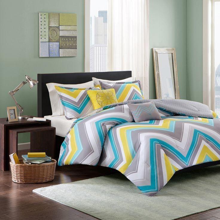 Sporty Chic Teal Blue Grey Yellow White Chevron Stripe Teen Girls Comforter  Set | EBay