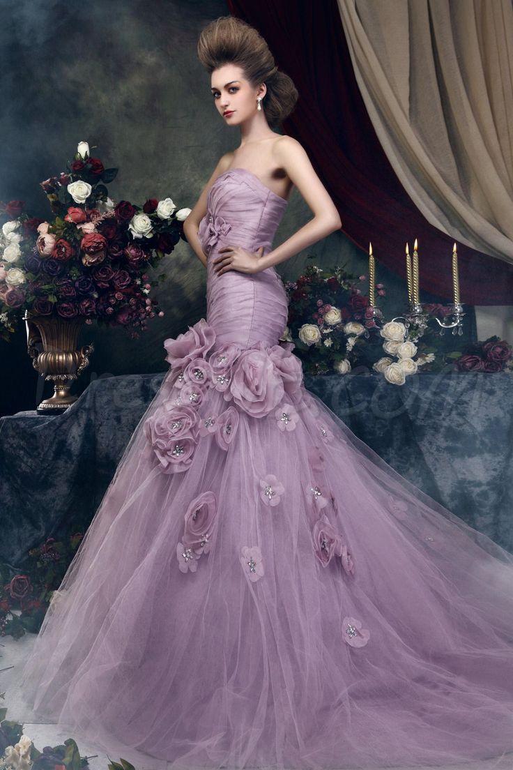 Brilliant Trumpet/Mermaid Strapless Chapel Train Flowers Angerika's Color Wedding Dress 10076024 - Trumpet/Mermaid Wedding Dresses - Dresswe...
