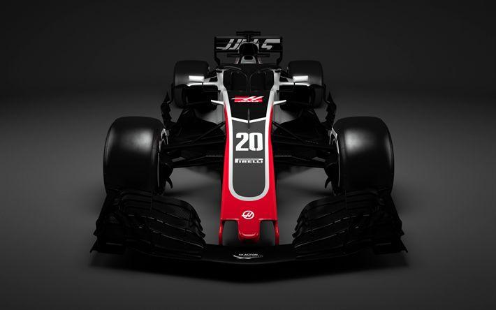 Download wallpapers Haas VF-18, 2018 cars, Formula 1, F1, Haas 2018, F1 cars, VF-18, Haas
