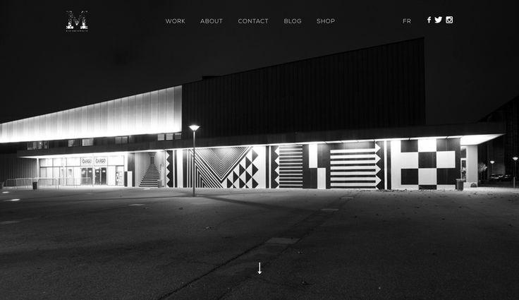 Large home image, minimal type, built on Wordpress. http://murmure.me/en/
