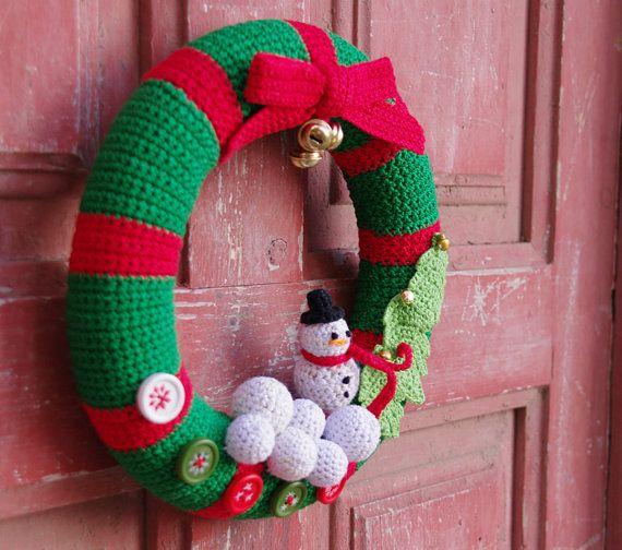 Vánoční věnec háčkování Vánoční přední dveře věnec podle mening