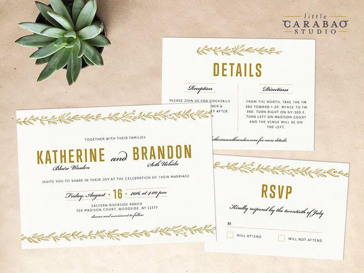 DIGITAL Wedding Invitation Set PRINTABLE Botanical Wedding Invitation Set - DIY Digital Invitation Suite - Little Carabao Studio - #011 by littlecarabaostudio on Etsy https://www.etsy.com/listing/246456056/digital-wedding-invitation-set-printable
