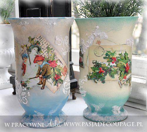 wazon decoupage róże z koronką - Szukaj w Google