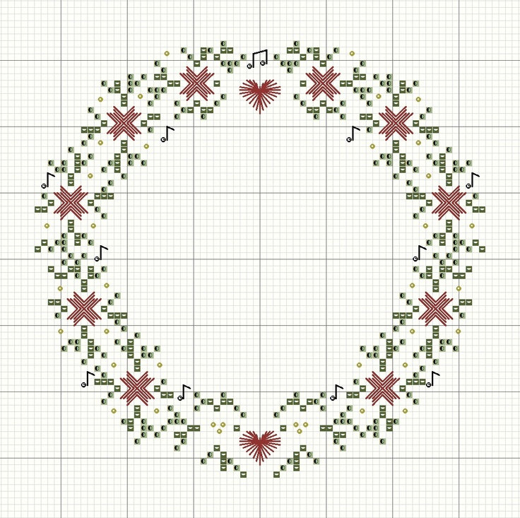 Free Christmas Wreath Cross Stitch Pattern by Rainburst Embroidery