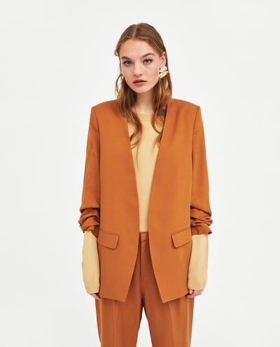 Image 2 of BLAZER WITH GATHERED SLEEVES from Zara