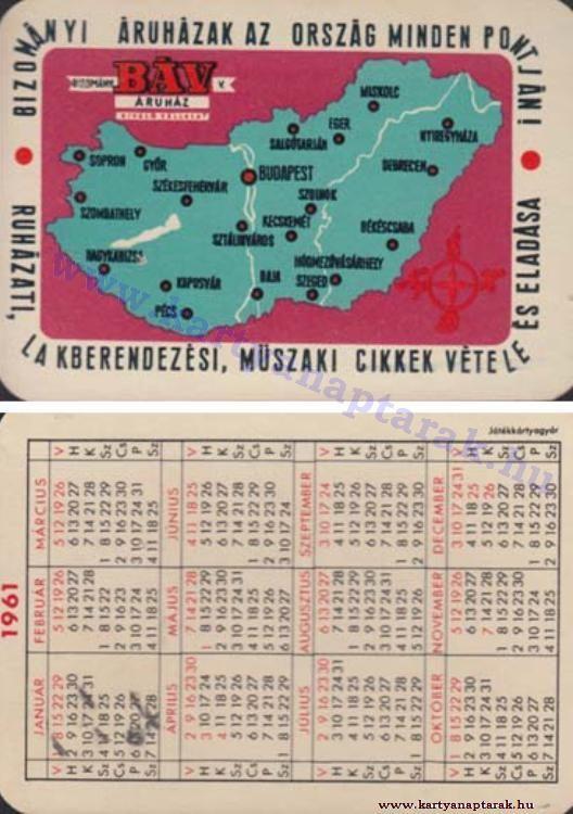 1961 - 1961_0077 - Régi magyar kártyanaptárak