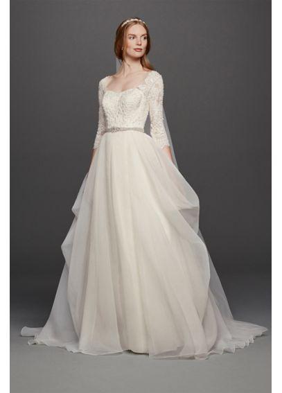 Oleg Cassini Organza Wedding Dress with 3/4 Sleeve 4XLCWG731