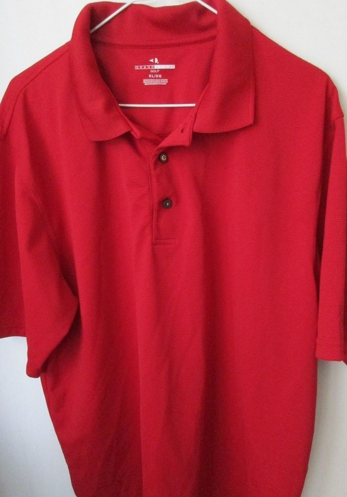 Grand Slam Men's Red Golf Polo Rugby Size XL/XG 100% Polyester Short Sleeves #GrandSlam #PoloRugby