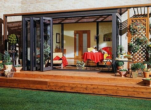 17 best images about folding doors on pinterest home for Folding outdoor doors