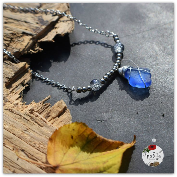 This ocean pendant features genuine Irish rare blue seaglass. Romantic and earthy. I know that so many people, like me, feel the call of the sea and the salty breeze in their soul. My aim is to bring a little slice of that romantic ocean escape to my customers ♡ --------------------------------