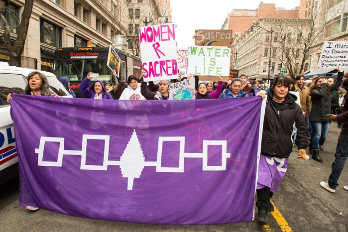 Haudenosaunee Women, Women's March.       It is no coincidence that the women's rights movement had its first meeting at the Seneca Falls Convention in 1848. Non-Native women who lead the women's rights movement then, like Elizabeth Cody Stanton and Lucretia Mott, were heavily influenced by the power Haudenosaunee women held. It made them realize that they did not have to accept subservient roles to men.