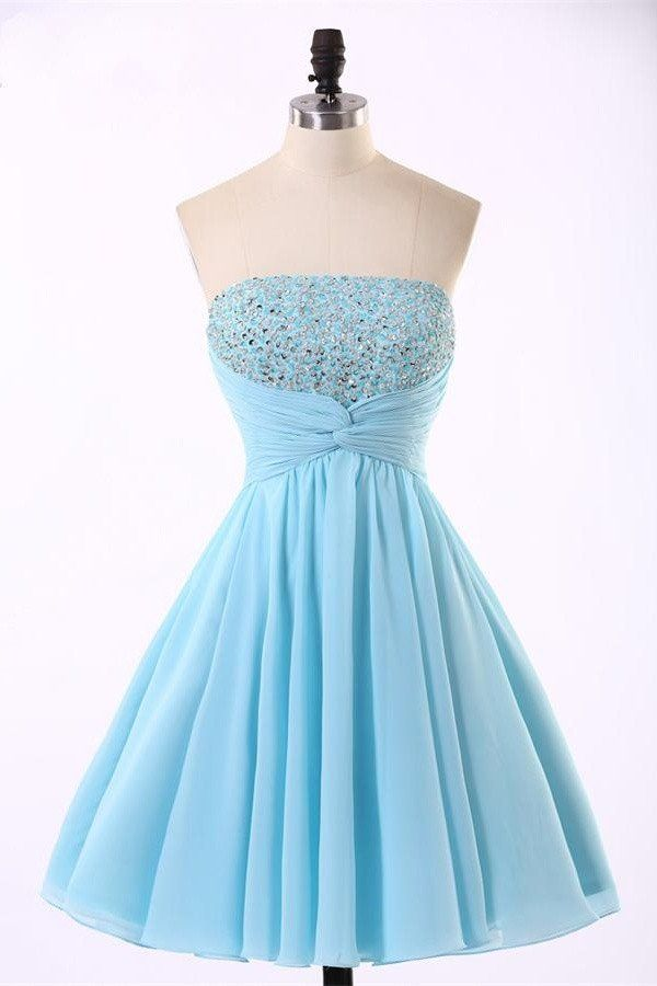 Light Blue Short Homecoming Dress with Beaded Bodice and Ruched Sash