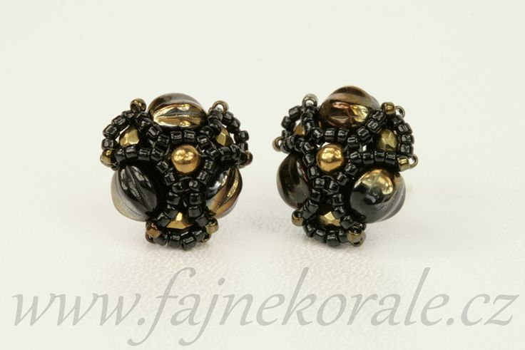 Melon beads earrings. Valentinit and Bronze colour.