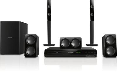 Philips HTD3540 La experiencia de entretenimiento en casa se optimiza con el sistema de cine en casa HTD3540 de #Philips. Los altavoces con doble pico de graves ofrecen un potente sonido de 300 W y una reproducción de #DVD en #FullHD #1080p.