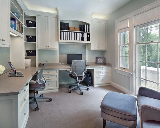 Beautiful Home Office Design for Two People with Double Desk: Awesome Modern Home Office Design With Beautiful Built In Desk And Beautiful Style For Shelf ~ nexusipeblog.com Interior Design Inspiration