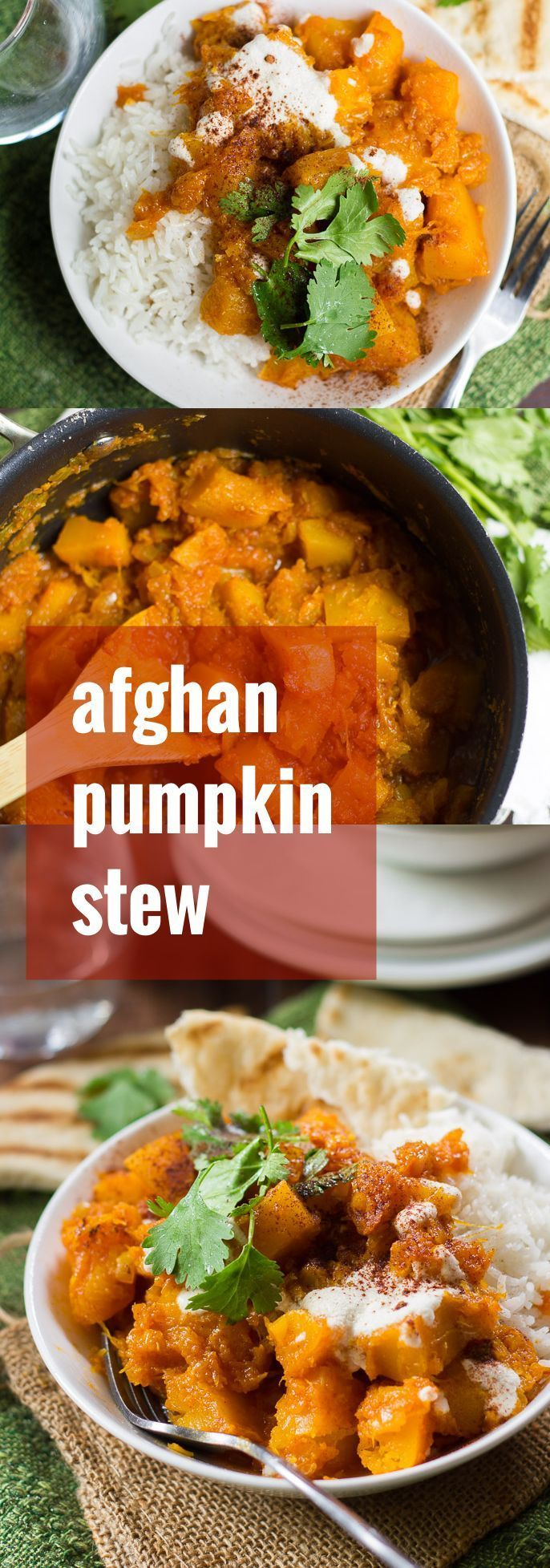 Juicy chunks of sugar pumpkin are simmered in tomato sauce with spices, then served over basmati rice with cashew cream to make this Afghan-inspired pumpkin stew!