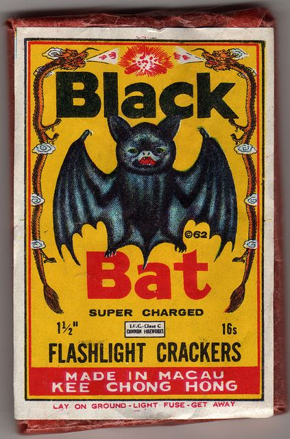Black Bat - super charged flashlight crackers - firecracker pack label - 1960's by JasonLiebig, via Flickr