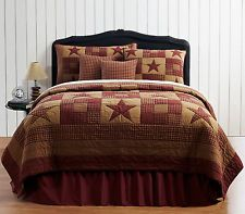 Country Primitive Ninepatch Star Quilt Bedding 7 pieces Burgundy Khaki New VHC