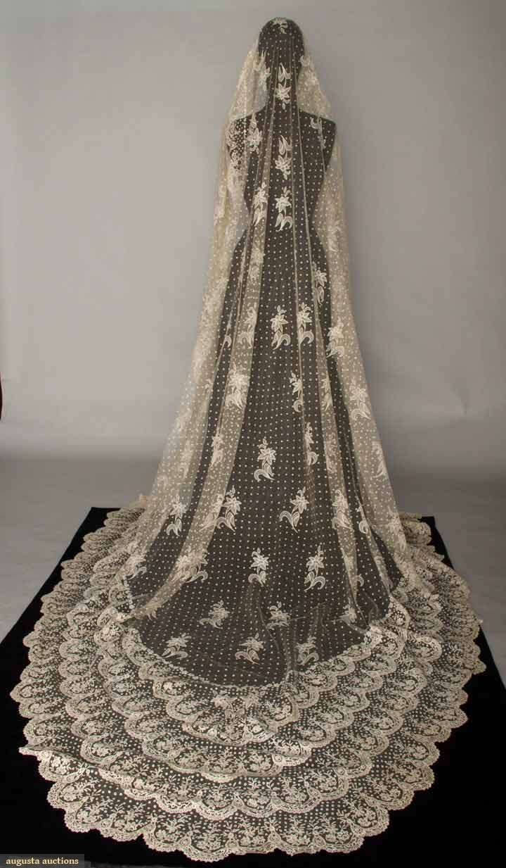 "Brussels mixed lace veil, 1870s. Wow! Ok, ""wow"" is inadequate."