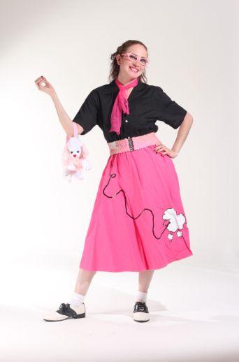 50`s Falda rosa y Blusa Negra