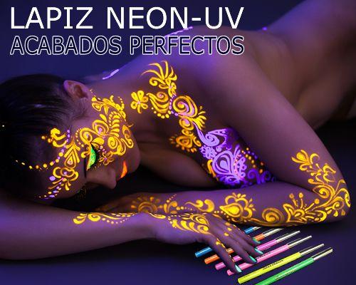 Lápiz de Ojos y perfilador de labios Neón UV Fluorescente. Puedes usarlos tambien para crear dibujos en cuerpo y cara. Gran variedad de colores, todos ellos brillan con luz negra.
