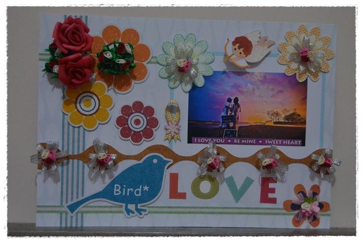 love bird with flowers