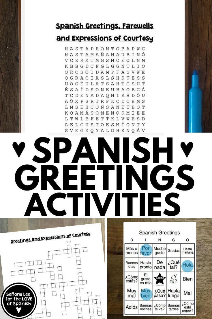Spanish Greetings Bundle For Beginning Spanish Or Spanish 1 In 2020 Spanish Greetings Learning Spanish Vocabulary Spanish Teaching Resources [ 1102 x 735 Pixel ]
