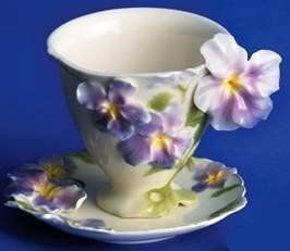 Franz Collection Sculptured Fine Porcelain Pansy Cup U0026 Saucer (DOES NOT  INCLUDE SPOON) Franz