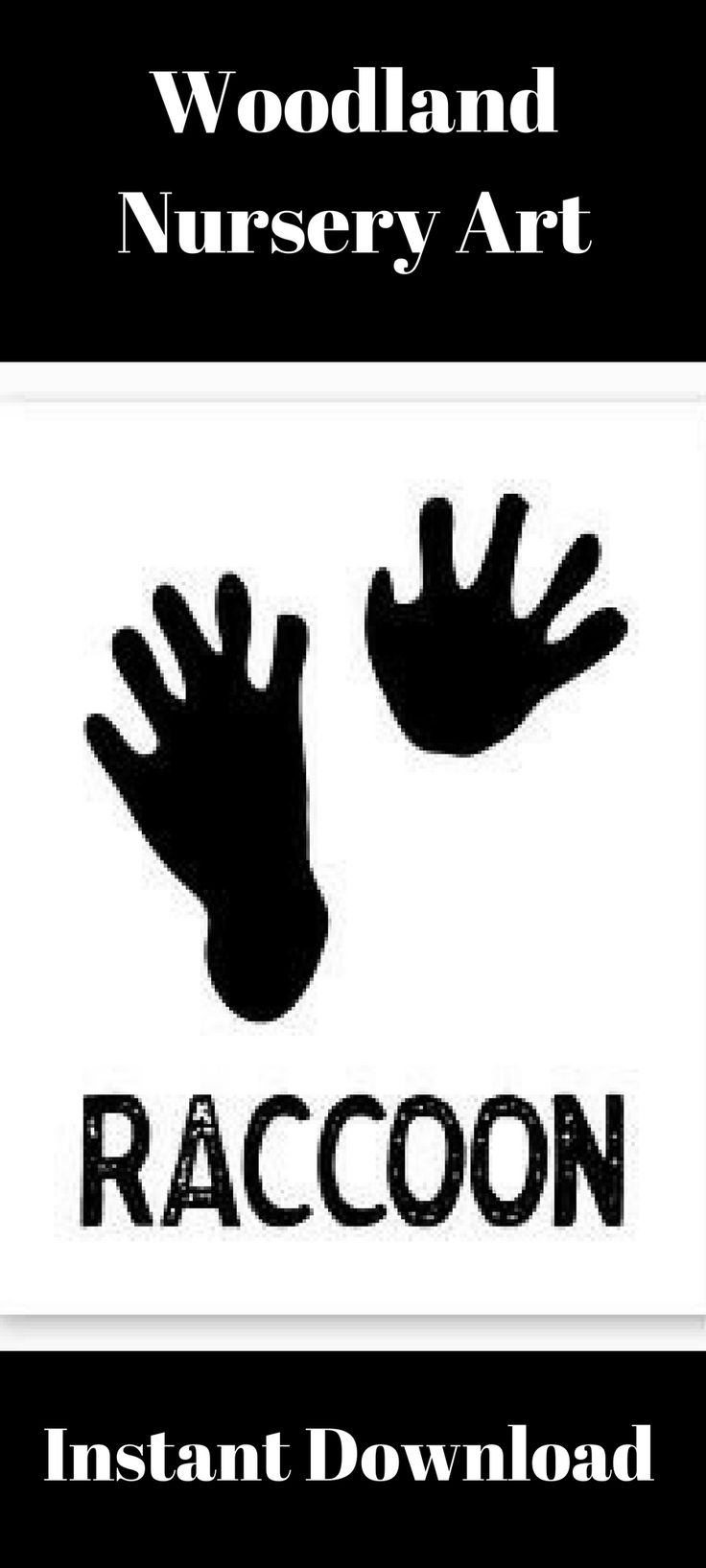 WOODLAND NURSERY, Raccoon Printable, Raccoon Paw Prints, Rustic Nursery, Instant Download, Baby Shower Gift, Rustic Decor, Nature Decor #afflink