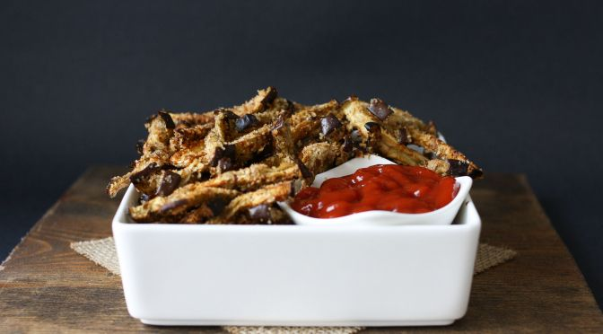Oven baked eggplant fries