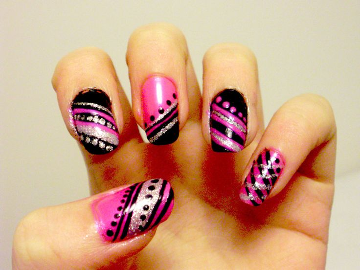 Harajuku Nails by ~xJasmine on deviantART - pink, black and silver stripes with dots nail art design