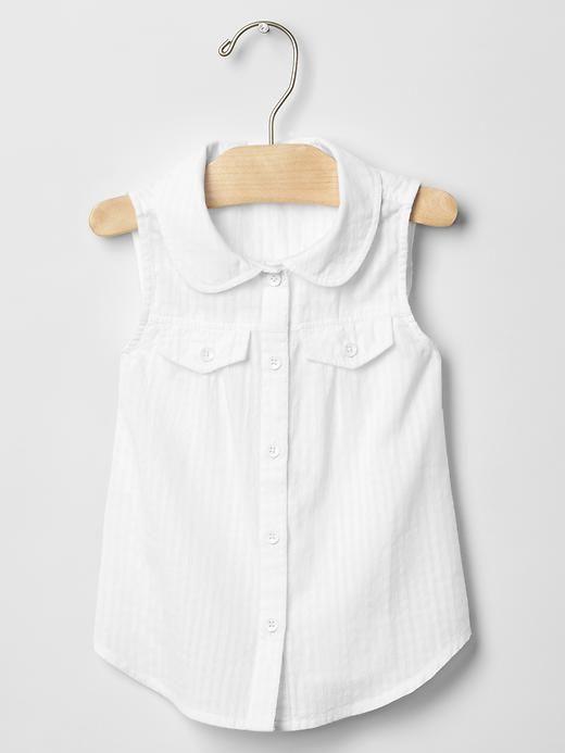 Peter Pan collar sleeveless shirt Product Image
