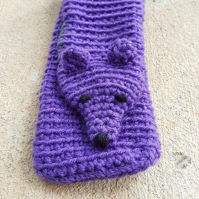purple crochet mink with two crochet ears, crochetbug, crochet stole, amigurumi mink, crochet stole