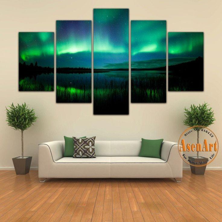 5 Panel Aurora Borealis Painting Beautiful Landscape Scenery Wall Art Canvas Prints Unframed