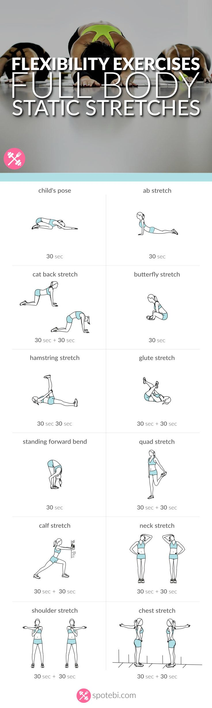 Stretch your full body with this set of flexibility exercises. A static stretching routine to improve joint range of motion and stretch muscles and tendons.