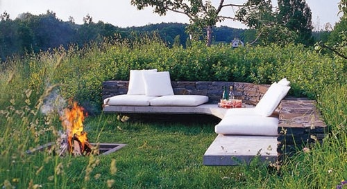 Firepit: Outdoor Seats, Elle Decor, Outdoor Living, Seats Area, Outdoor Fire Pit, Backyard, Outdoor Spaces, Firepit, Back Yard