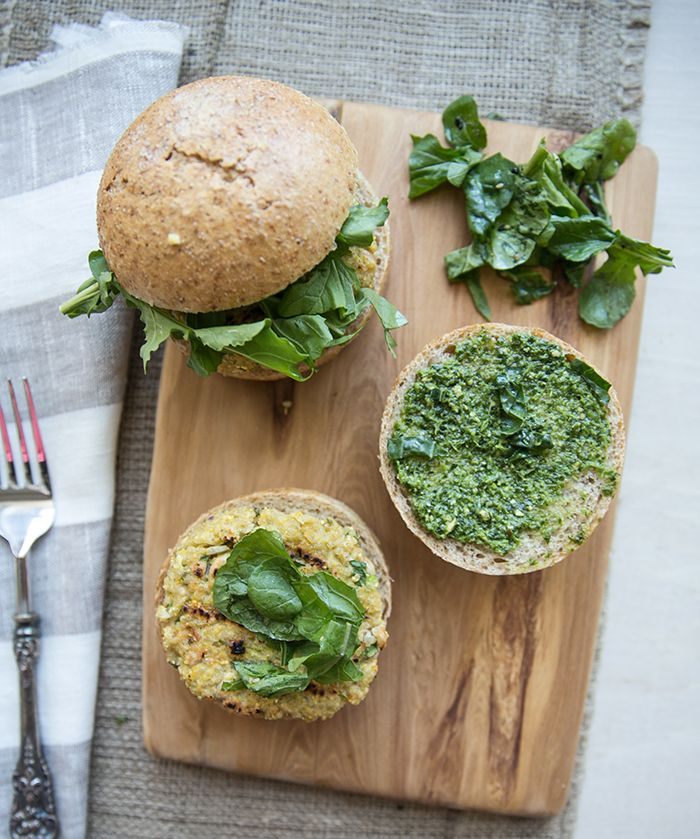 quinoa + white bean burgers with a ramp + chili pesto