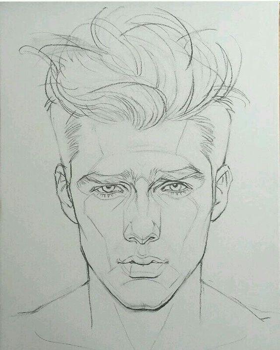 Gesichtszeichnung des Mannes – coole Zeichnung bemannt Gesichtsform. Besuchen Sie meinen YouTube-Kanal