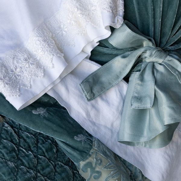 Bella Notte Linens: Sophia Personal Comforter in Seaglass, Satin Pillowcase with Venise lace edge in White, Silk Velvet Bolster in Seaglass, Linen Fitted Sheet in Whit