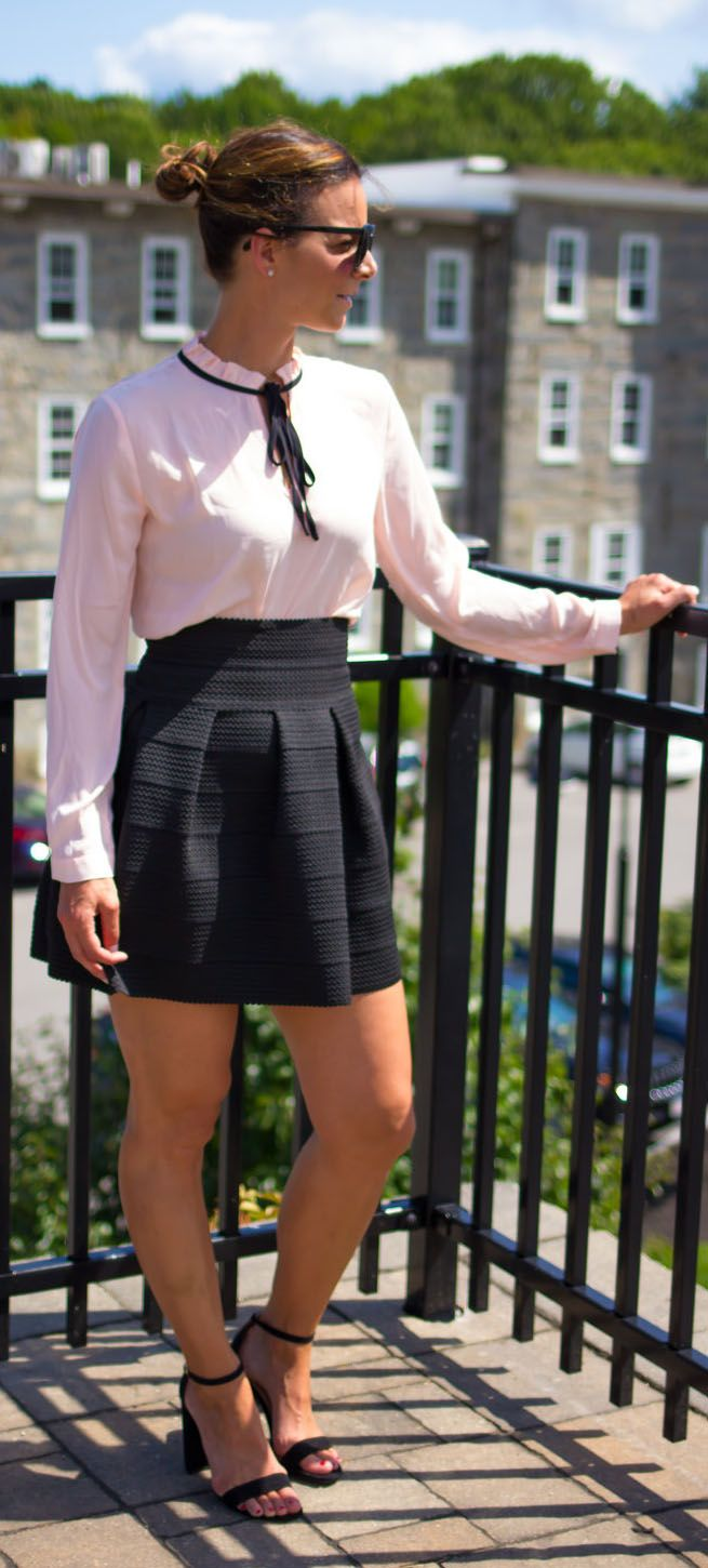 How to style a bow tie blouse.