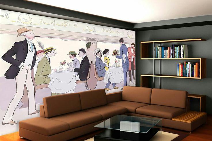 Restaurant Car In Paris To Nice Train Art Deco Wallpaper