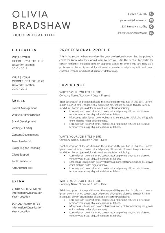 Resume Example With Headshot Photo Cover Letter 1 Page Word Resume Design Diy Cv Example Professional Resume Examples Resume Examples Good Resume Examples