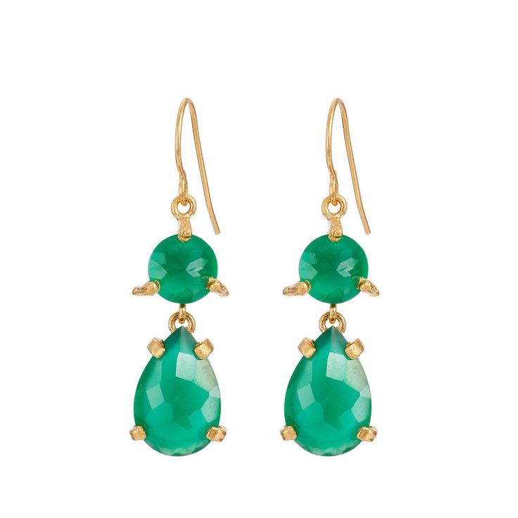 In The Wild Earrings Green Onyx in Gold