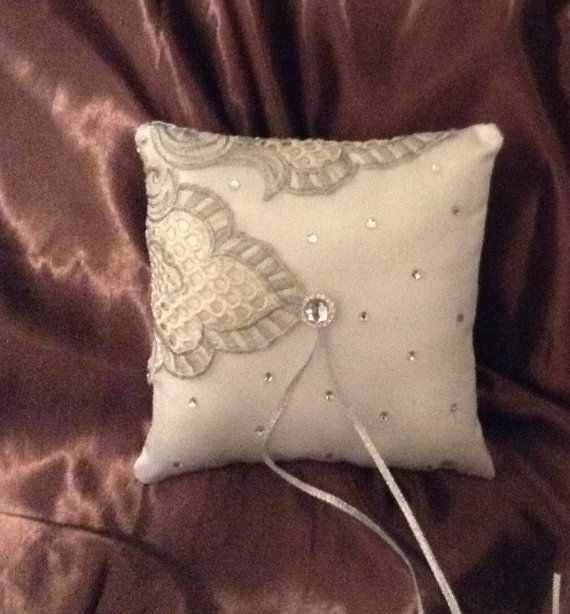 Embroidery white with flower satin ring bearer pillow by irmart